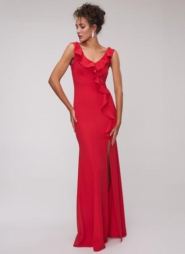 People By Fabrika Volanlı Elbise Kırmızı